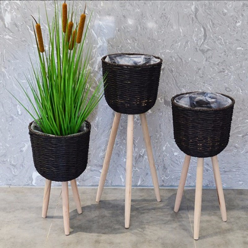 Straw Weaving Flower Basket Flowerpot Ground Decorate A Living Room Balcony Simplicity Countryside Flower Rack Northern Europe
