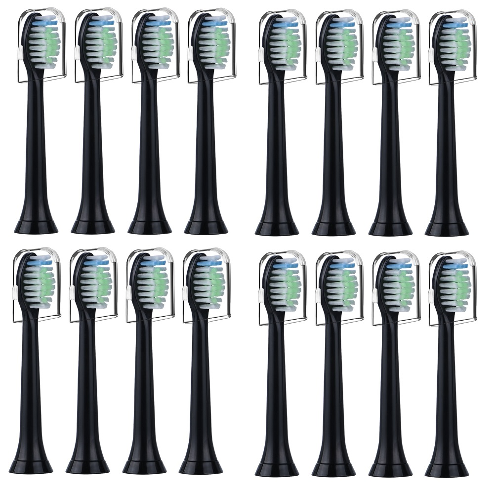 Replacement Toothbrush Heads For Philips Sonicare Compatible With Diamond Clean ProtectiveClean Brush Heads 16pcs HX6064 Black