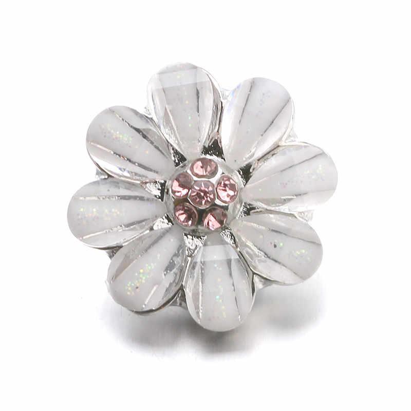 10 יח'\חבילה באיכות גבוהה 12MM הצמד כפתור תכשיטי ריינסטון פרח Fit מיני הצמד צמיד צמיד עגילי שרשראות ZL040