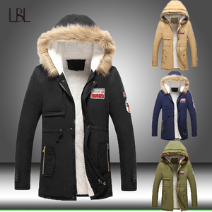 Image 2 - Men Winter Casual Jacket Parka Mens Slim Thicken Fur Hooded Outwear Warm Coat Male Hooded Brand Clothing Man Solid Long Parkas