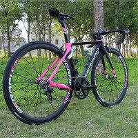 전체 탄소 에어로로드 완료 자전거 22 속도 shiman0 R7000 BB71 프레스 하단 브래킷 1423 스포크 R8000 핑크 완료 자전거 TT-X