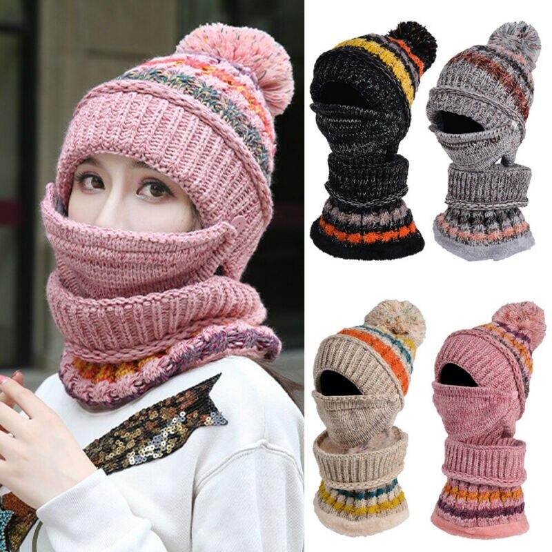 Women Pom Pom Beanie 3pcs/Set Hat Scarf Mask Neck Winter Warm Casual Thermal Ski Cap Female Knit Hats Set