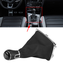 цена на 5 Speed Car Gear Shift Knob Lever Shifter Stick Gaiter Boot Cover Gear Shift Knobs  Gaiter Boot Covers for Golf 7 MK7 2013-2017
