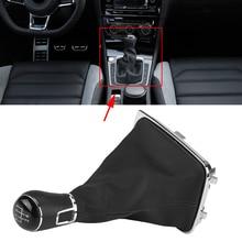 цена на 5 Speed Car Gear Shift Knob Lever Shifter Stick Gaiter Boot Cover Gear Shift Knobs  Gaiter Boot Covers for Golf 7 MK7 2013-2017