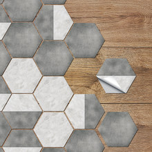 European Classical Gray And White Hexagonal Marble Family Decoration Living Room Bedroom Floor Non-slip Stitching Stickers