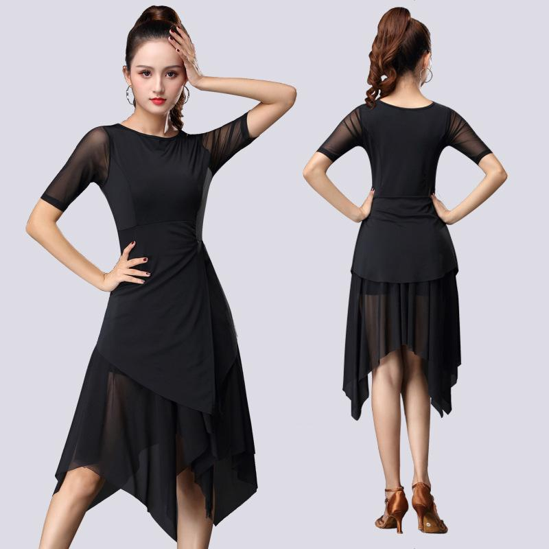 2019 New Fashion Sexy Short-sleeve Latin Dance Practice Clothes Ballroom Dance Dress One-piece Dress For Women Ballroom Costumes