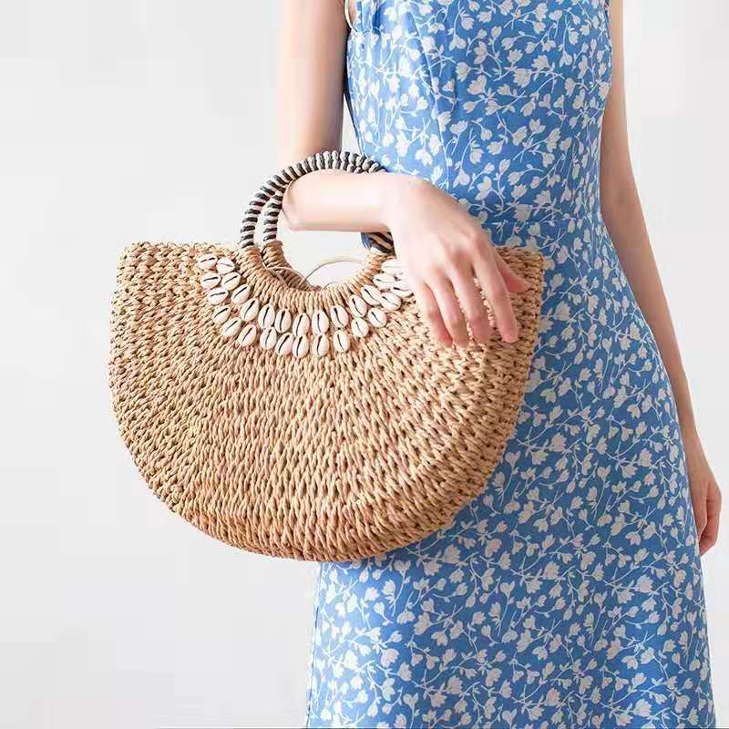 Casaul Shell Half Moon Rattan Women Handbags Designer Female Straw Bag Wicker Woven Large Capacity Totes Summer Beach Purse 2020