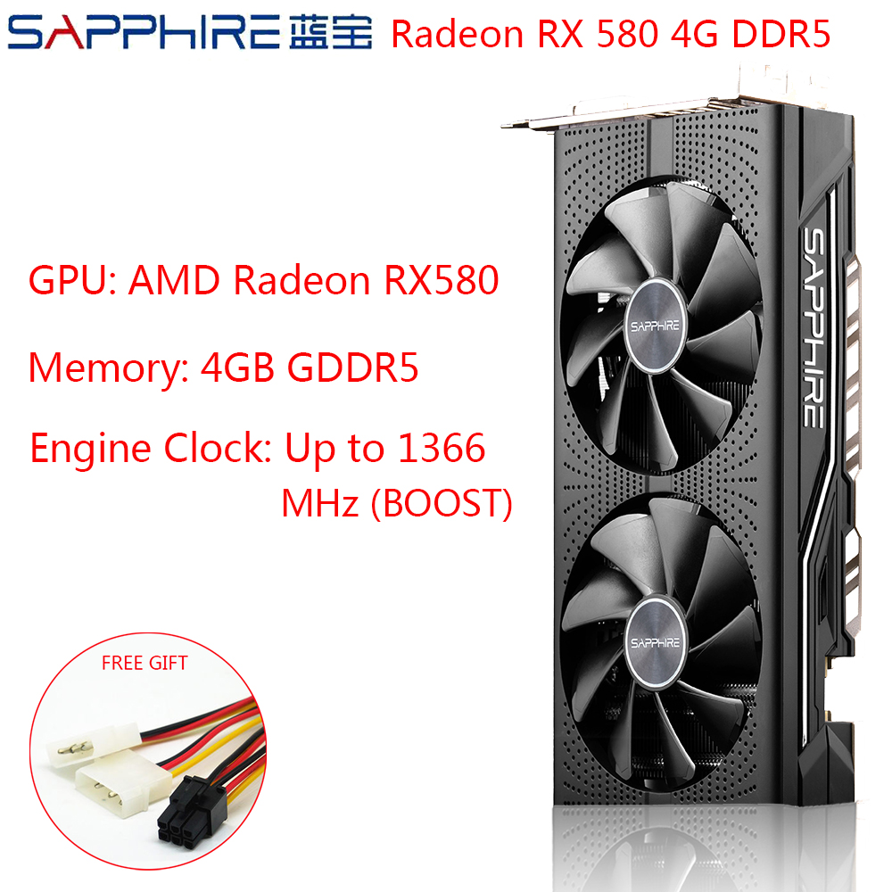 SAPPHIRE AMD Radeon RX 580 4GB Graphics Cards Gaming PC Video Card RX580 256bit 4GB GDDR5 PCI Express 3.0 Desktop Used RX580 image