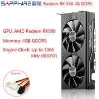 Zafiro AMD Radeon RX 580 con 4GB tarjetas de gráficos de juegos PC tarjeta de vídeo RX580 256bit 4GB GDDR5 PCI Express 3,0 se RX580