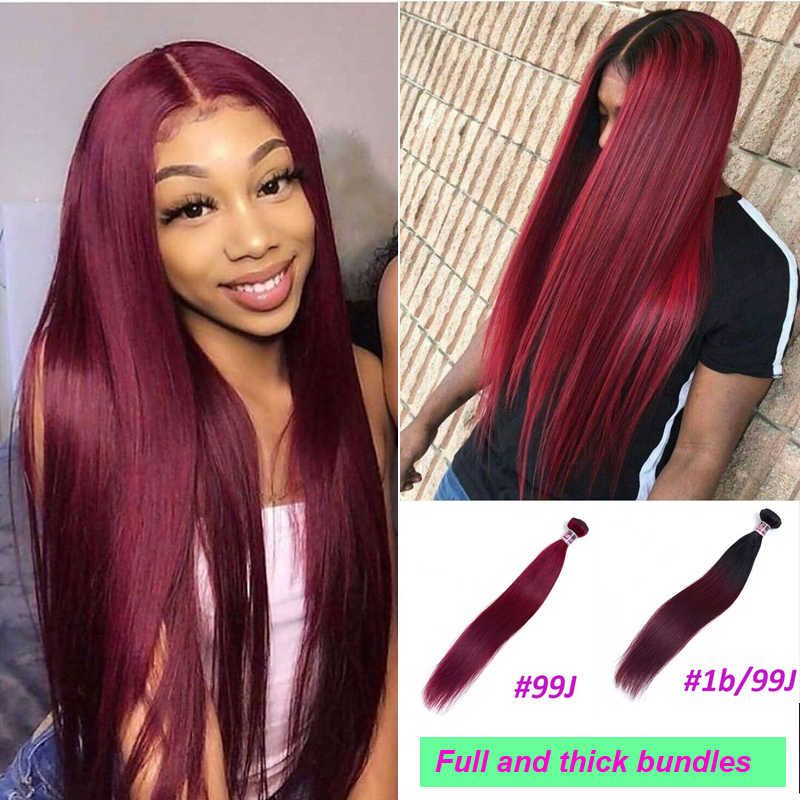 Braziliaanse Steil Haar Weave Bundels Niet-Remy 30 Inch Human Hair Extensions Kleur 1B/2/4/27/99J/Bordeaux Ombre Bundels