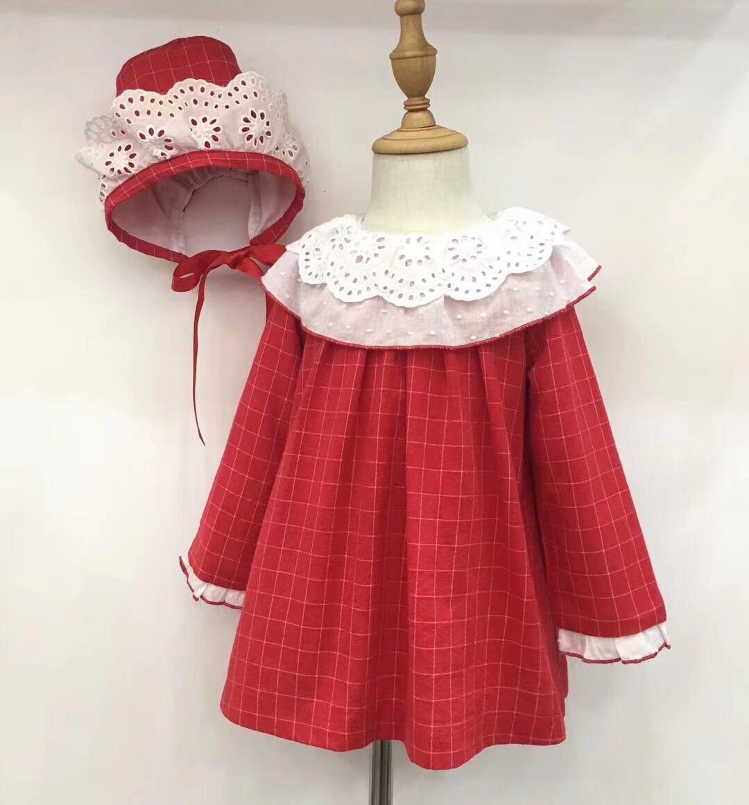 Petites filles robes rouge noël enfants robe espagnol vintage automne bébé vêtements à manches longues princesse robe boutiques