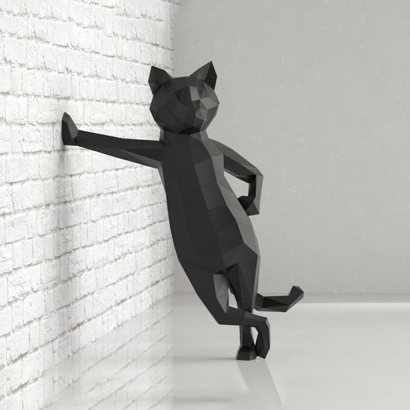 Lovely Cat 50cm Paper 3D DIY Material Manual Creative Home Decor Props #2090 Hand Made Cute Geometric Paper Figures