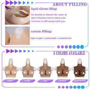 Image 4 - CDEG Cup Half Body Artificial Silicone Breast Forms For Performer Transsexual Halloween Masquerade Crossdress Props Fake Boobs