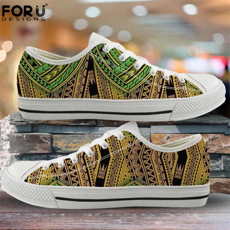 FORUDESIGNS Fashion Flats Vulcanize Shoes Polynesian Traditional Tribal Print Canvas Low Top Shoes Women Casual Sneakers Lace-up