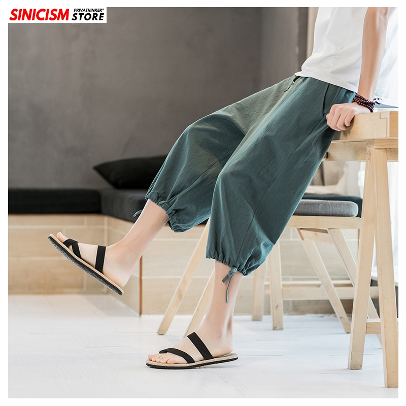 Sinicism Store Men Printed Summer Wide Leg Harem Pants Mens 2020 Breathable Trousers Male Plus Size Chinese Style Pants Clothes