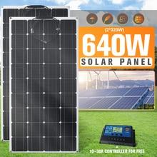 640W 320W Flexibele Zonnepaneel Kit Compleet Panel Solar Charger Diy Connector Batterij Voor Home Camping Auto Smartphone power Bank zonnepaneel plug en play