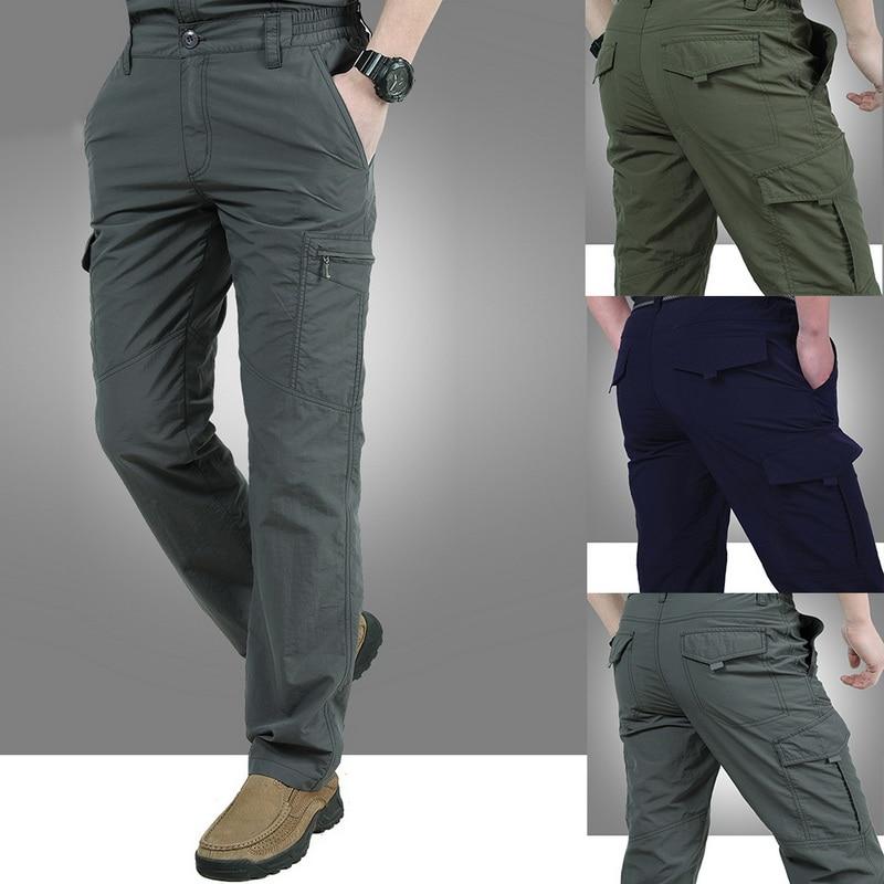 2019 Men Cargo Pants Solid Tactical Pants Men Outdoor Quick Dry Trousers Joggers Military Muilti Pocket Pantalones Hombre