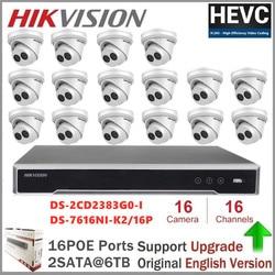 Hikvision 16CH CCTV zestaw do nadzorowania 16 sztuk 8MP POE kamera IP system kamer bezpieczeństwa Onvif domu/na zewnątrz odporne na warunki atmosferyczne