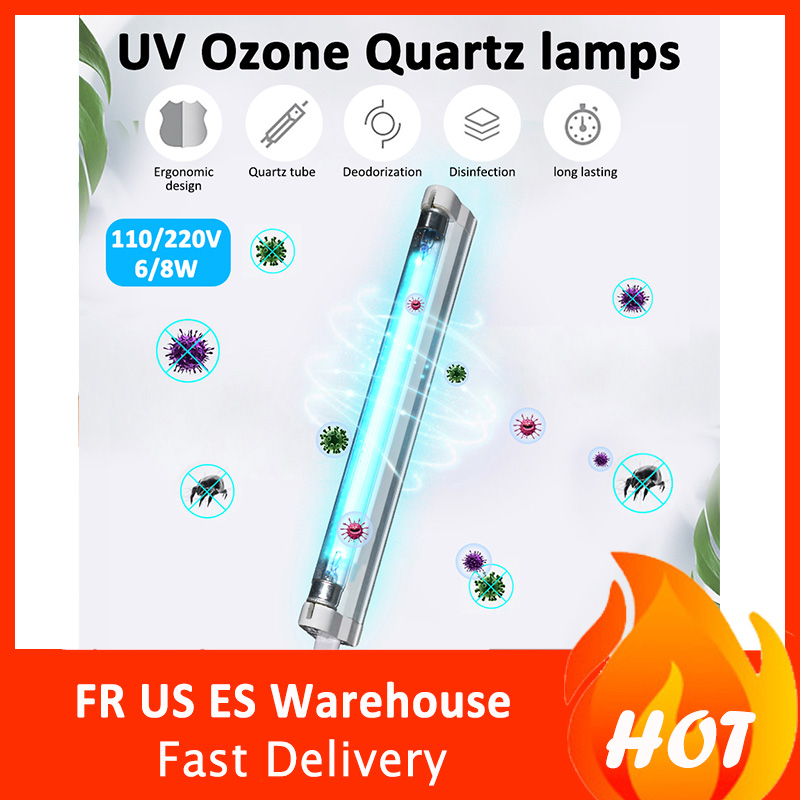 6W 8W Ultraviolet Germicidal Light T5 Tube With Fixture UVC Disinfection Lamp
