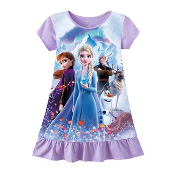 Ubrania dla dziewczynek nowe letnie sukienki dla księżniczek krótkie sukienki dla dzieci Anna Elsa Party Girls swobodne sukienki dla dzieci odzież 3-9Y tanie i dobre opinie Disney Dziewczyny COTTON 25-36m 4-6y 7-12y CN (pochodzenie) Lato Do kolan O-neck REGULAR SHORT Na co dzień Dobrze pasuje do rozmiaru wybierz swój normalny rozmiar