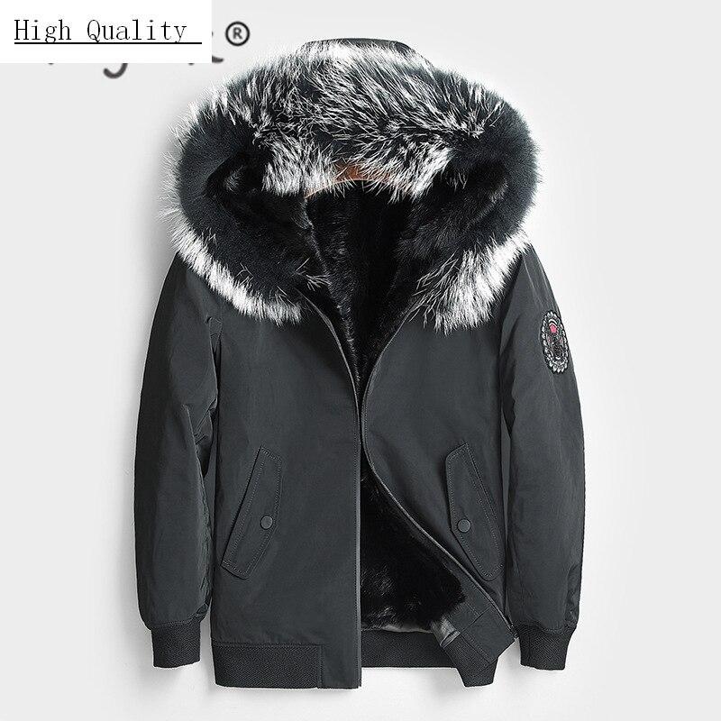 Winter Coat Men Natural Mink Fur Liner Parka Clothes 2020 Streetwear Thick Warm Jacket Real Raccoon Fur Hooded Hiver 8807