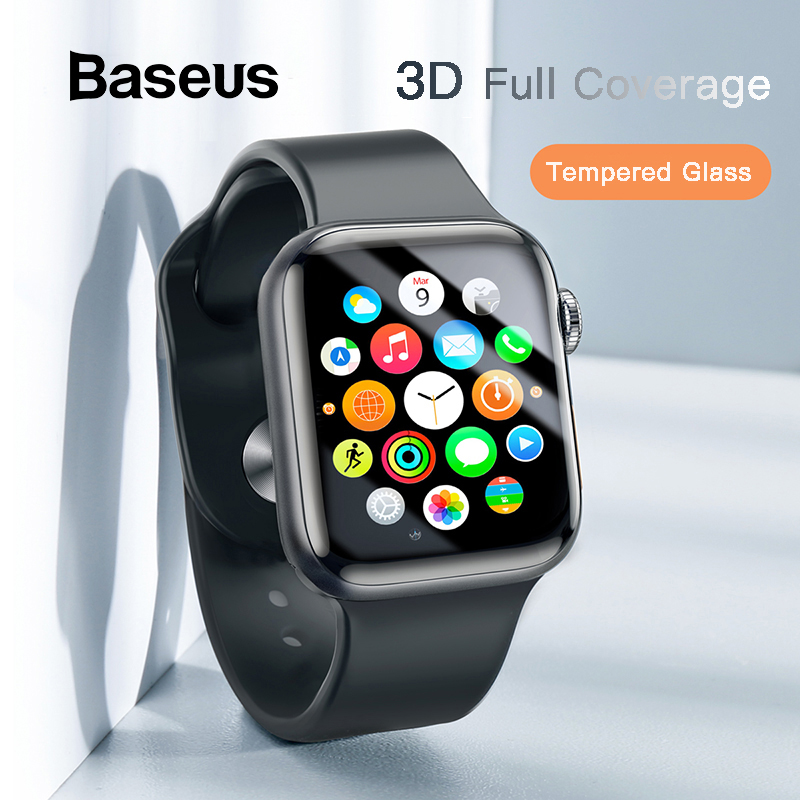 Baseus 0.23mm Thin Protective Glass For Apple Watch 1 2 3 4 5 3D Full Coverage Tempered Glass For IWatch 4 3 2 Screen Protector