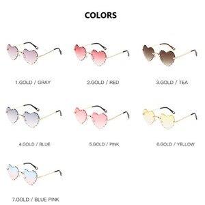 Image 5 - Fashion Heart Shape Sunglasses Rimless Flower Glasses Women Fashion Brand Design Metal Frame Candy Color Gradient Trend Glasses