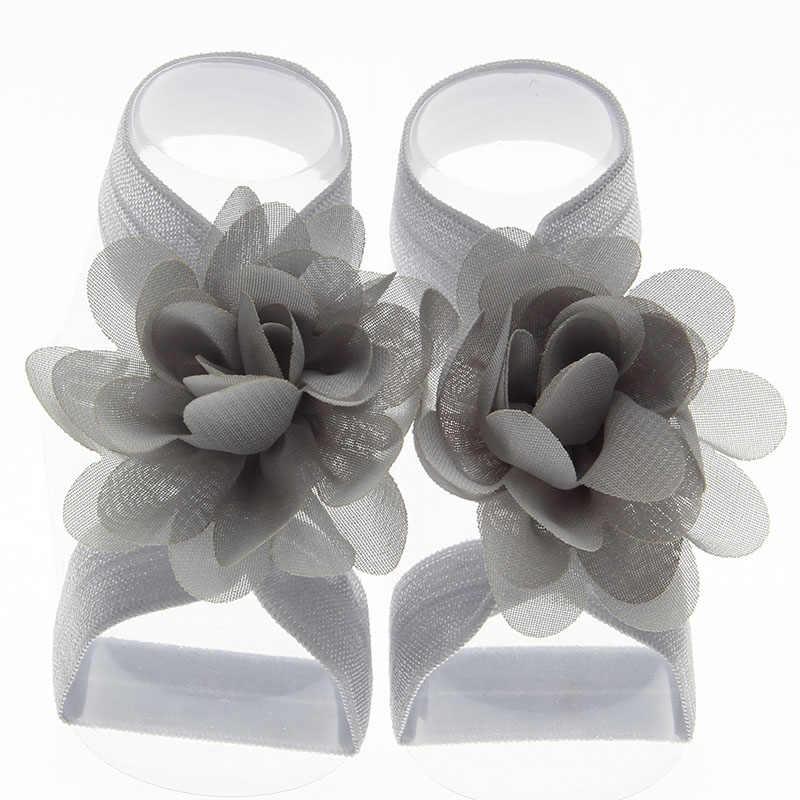 Yundfly 1 זוג בוטיק שיפון פרח יחף סנדלי עבור תינוק בנות יילוד אבזרי תמונה
