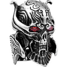 цена на Wolf Skull Men's Ring Male Personality Domineering Devil Titanium Steel Ring Punk Trendsetter Single Index Finger