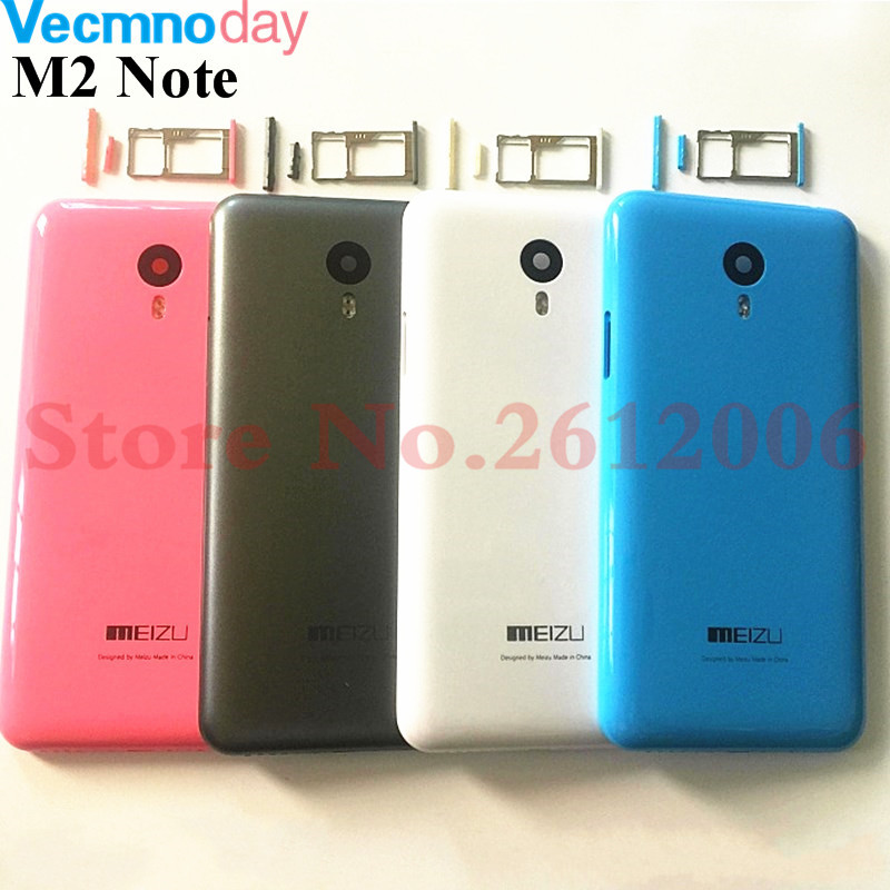 Battery Back Cover For <font><b>Meizu</b></font> <font><b>M2</b></font> <font><b>Note</b></font> Battery Cover Door Case Housing Replacement With Camera Lens+Side Buttons+<font><b>Sim</b></font> Card <font><b>Tray</b></font> image