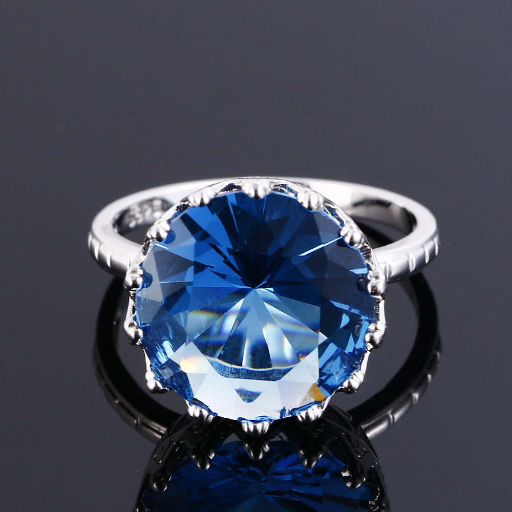 Top Quality Created Blue Sapphire Rings For Women Silver 925 Sterling Jewelry Ring Wedding Engagement Party Gift Size 6 7 8 9 10