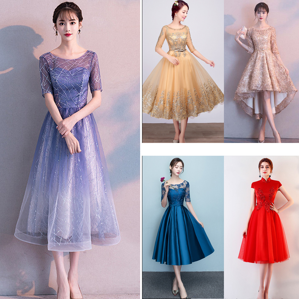 In Stock Prom Dress Gradient Blue Color Elegant Party Gowns Women Short Sleeve Formal Dresses E048 More Styles Clearance