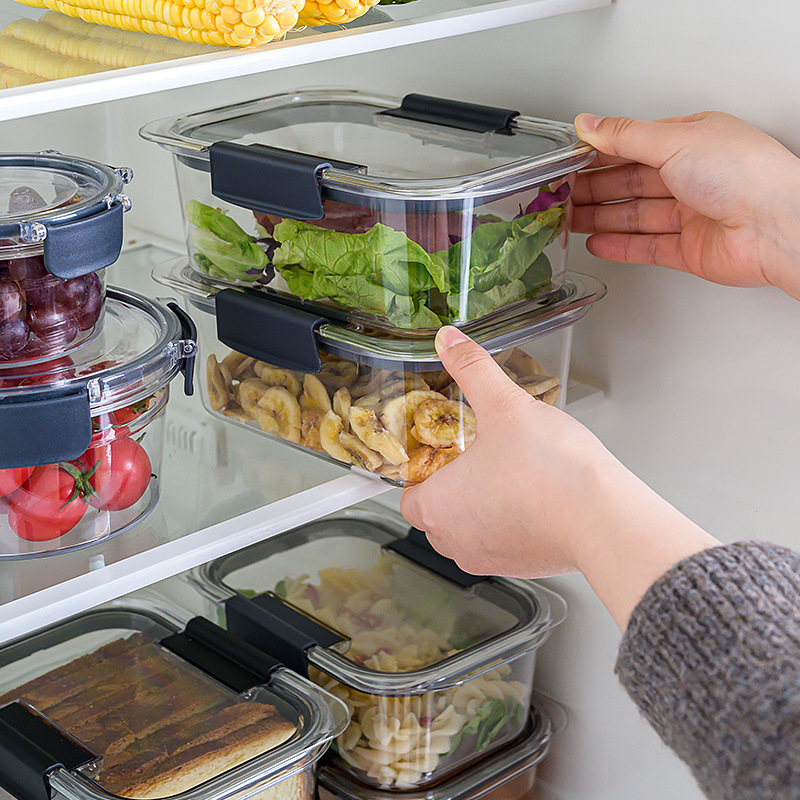Household Kitchen Food Storage Container Tritan Material Storage Cans Jars Boxes For Food Fruit Vegetable Meat