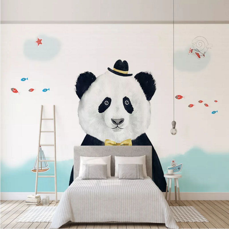 Scandinavian Minimalist Panda Children Wallpaper Cartoon Polar Bear Hippo Sky Whale Animal Wallpaper Early Education Amusement P