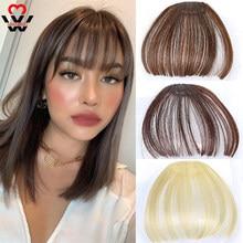 Manwei em linha reta marrom escuro franja de ar franjas de cabelo frente franjas franja clip em puro feminino 1 clip hairpieces