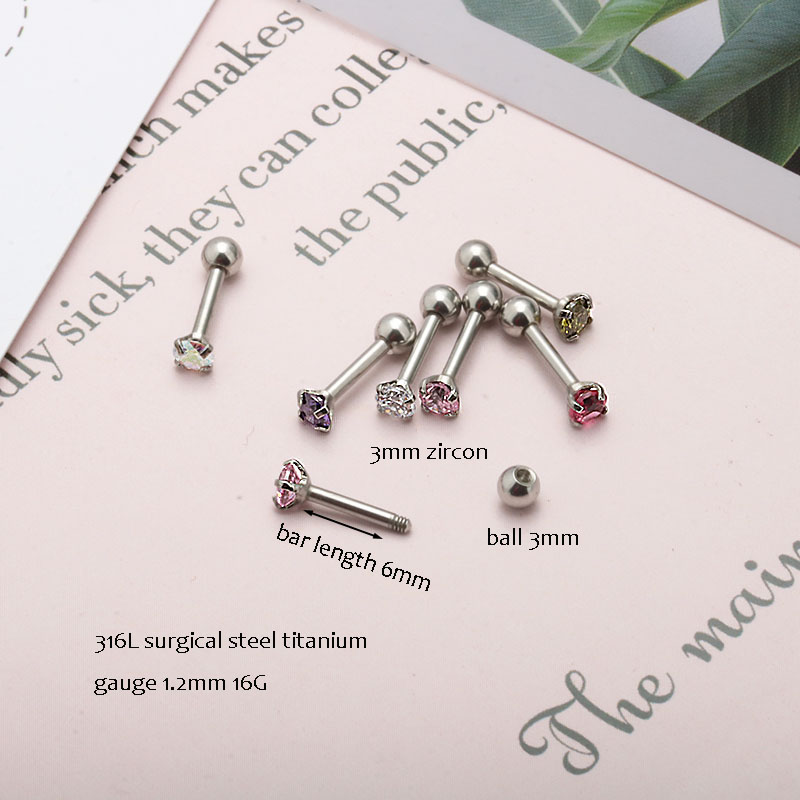 16G Tiny 2.5mm Moonstone Surgical Steel Stud Tragus Piercing Cartilage Earring Helix Piercing