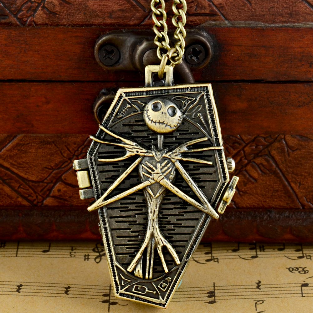 Vintage Tim Burton The Nightmare Before Christmas Quartz Pocket Watch Jack Skellington Bronze Chain Pendants Clock Women Men