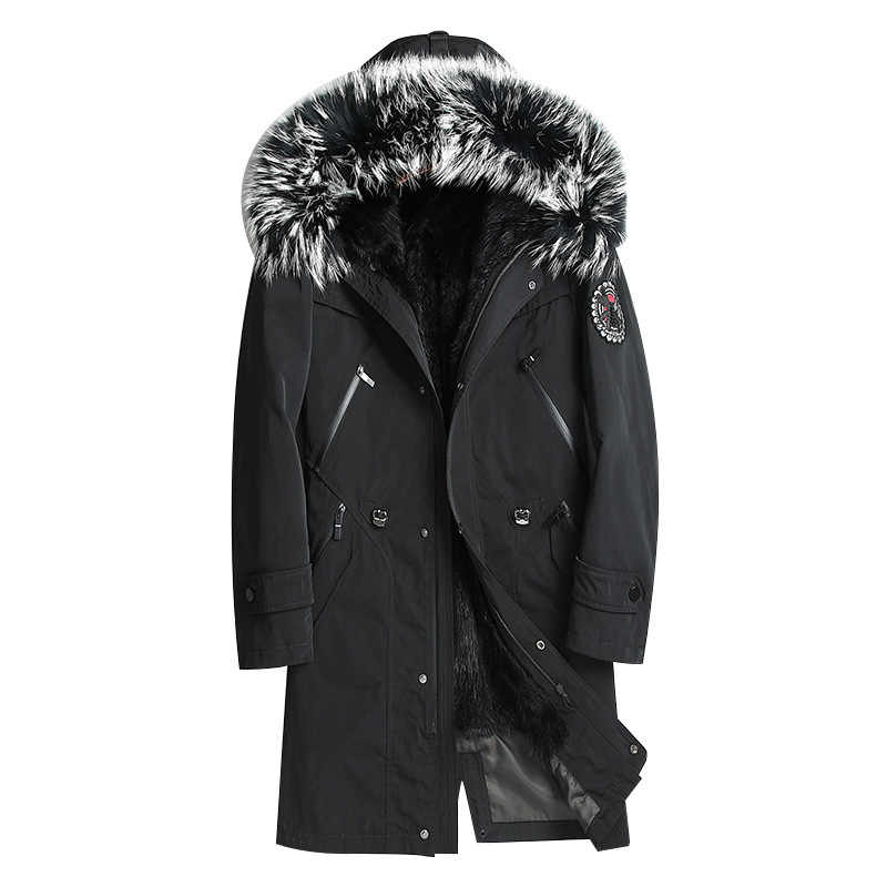 2020 Parka Real Bontjas Mannen Lange Winter Jacket Mink Fur Liner Wasbeer Bont Luxe Jas Mannen Nertsen Jassen Parka 8806
