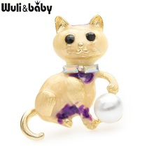 Wuli&baby Pearl Enamel Cat Brooches Women Lovely Casual Party Brooch Pins Gifts