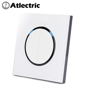 Atlectric 1 2 3 4 Gang 1 2 Way Home Power Light Switch ON / OFF Button Switch Lamp Light USB EU FR France Socket Glass Panel