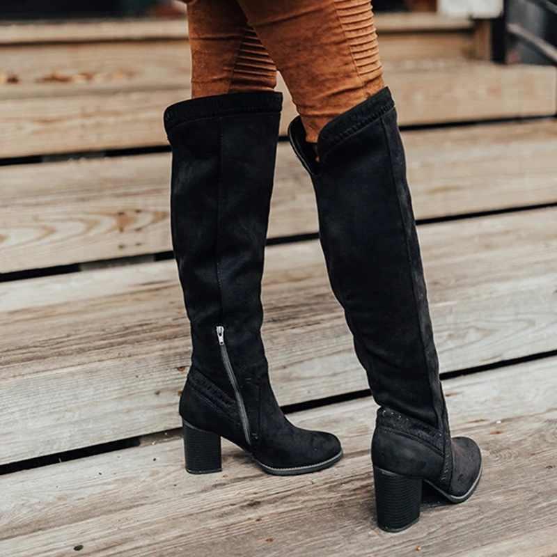 Oeak çizmeler kadın fermuar diz yüksek çizmeler oymak çizmeler rahat tıknaz topuk kadın sonbahar kış ayakkabı Bota Feminina