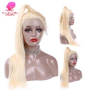 Image 2 - Парики из человеческих волос на полной сетке, 8   28 дюймов, Длинные бразильские прямые, Реми, 613 блонд, Омбре, цвет, безклеевые, искусственные на полной сетке