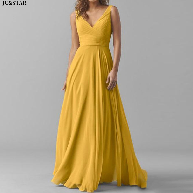 Robe Demoiselle D'honneur New Chiffon Sexy V Neck A Line Yellow Champagne Blush Pink Bridesmaid Dress Long Wedding Party Dress