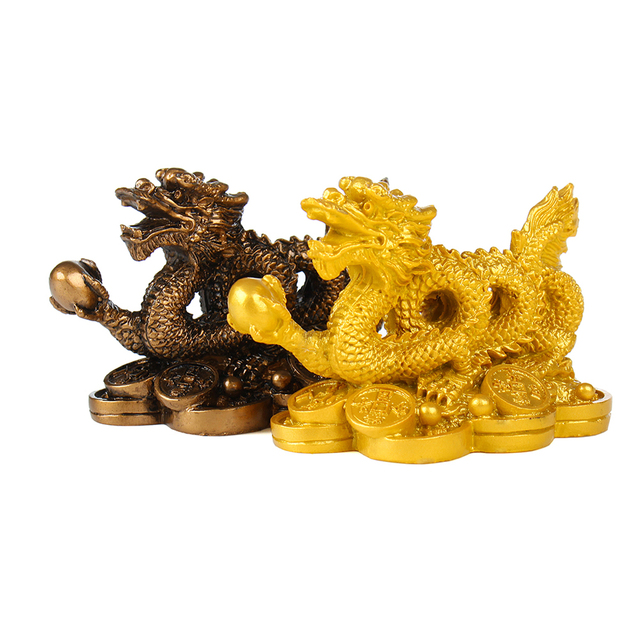 Chinese classical Feng Shui Golden Dragon statue decoration success decoration home crafts gold coins Han Long 2