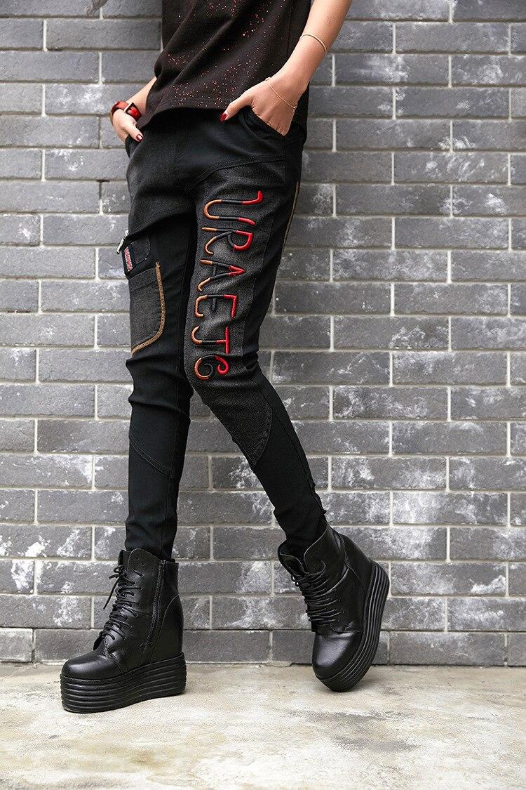LuLu 最大ルル春のファッションヴィンテージ弾性ハーレムパンツ韓国レディースブラックスキニーリッピング 女性デニムズボン prined 136