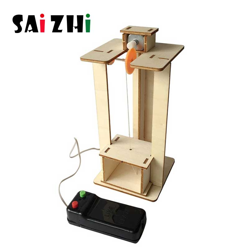 Saizhi DIY Kids Science Experiment Electric Science Model Kits Physics Technology Toys Wooden Elevator STEM Educational Toys