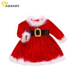 Женское платье для девочек Ma & Baby, рождественское красное бархатное плюшевое платье-пачка, вечерние платья для девочек, новогодние костюмы