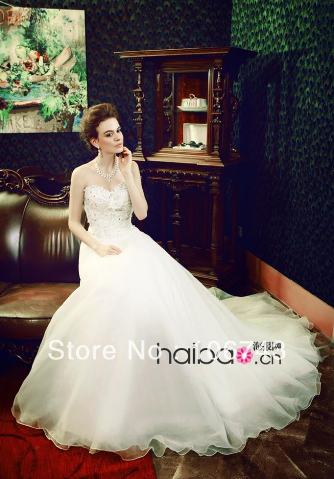 Free Shipping 2016 New Fashion Brides Vestidos Crystal Beaded Formal Elegant Oraganze Party Bridal Gown Lace Wedding Dresses