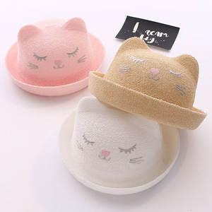 Summer Cap Bucket-Hat Panama-Caps Girls Kids Beach Children with Cute Cartoon Straw