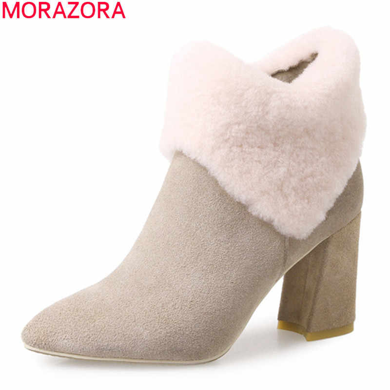 MORAZORA 2020 nowy przyjeżdża modne szpilki buty zimowe utrzymać ciepłe proste buty śniegu wysokiej jakości szpiczasty nosek botki kobiet